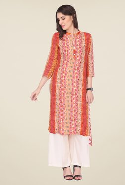 Varanga Red & White Printed Kurta With Palazzo - Mp000000000806942