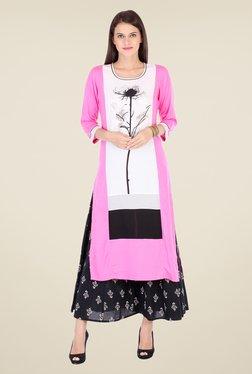 Varanga Pink & Black Printed Kurta With Palazzo