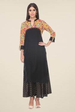 Varanga Black Printed Kurta With Palazzo - Mp000000000807164