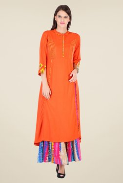 Varanga Orange Solid Kurta With Palazzo