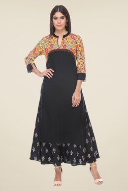 Varanga Black Printed Kurta With Palazzo - Mp000000000807167