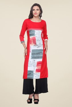 Varanga Red & Black Printed Kurta With Palazzo - Mp000000000807324