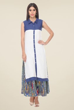 Varanga White & Blue Solid Kurta With Palazzo - Mp000000000807397