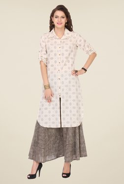 Varanga Cream & Black Printed Kurta With Palazzo - Mp000000000807415