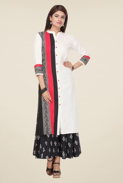 Varanga White & Black Printed Kurta With Palazzo - Mp000000000807543