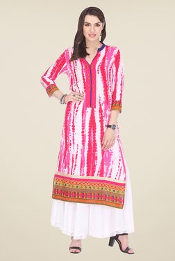 Varanga Pink & White Printed Kurta With Palazzo - Mp000000000807630