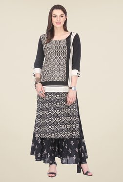 Varanga Black Printed Kurta With Palazzo - Mp000000000807645