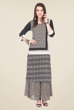 Varanga Black Printed Kurta With Palazzo - Mp000000000807670