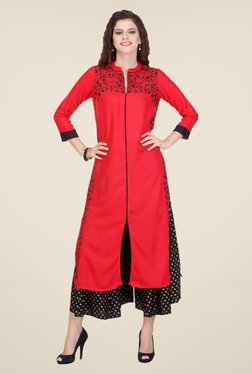 Varanga Red & Black Embroidered Kurta With Palazzo - Mp000000000804364