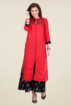 Varanga Red & Black Embroidered Kurta With Palazzo - Mp000000000807737