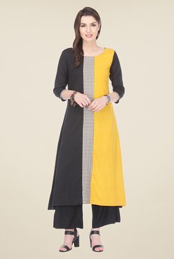 Varanga Yellow & Black Solid Kurta With Palazzo - Mp000000000807762