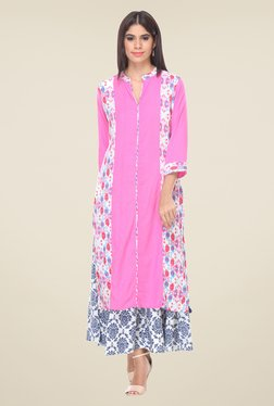 Varanga Pink & White Printed Kurta With Palazzo - Mp000000000807852