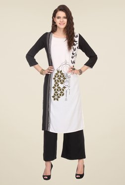 Varanga White & Black Printed Kurta With Palazzo