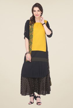 Varanga Yellow & Black Printed Kurta With Palazzo - Mp000000000808227