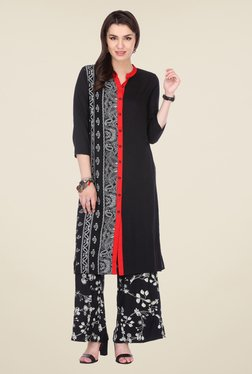 Varanga Black Printed Kurta With Palazzo - Mp000000000808306