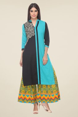 Varanga Blue & Yellow Embroidered Kurta With Palazzo