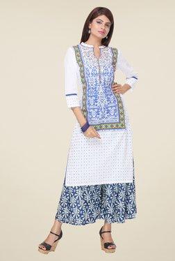Varanga White & Blue Printed Kurta With Palazzo - Mp000000000808369
