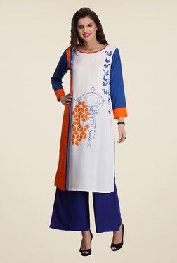 Varanga White & Blue Printed Kurta With Palazzo - Mp000000000808471