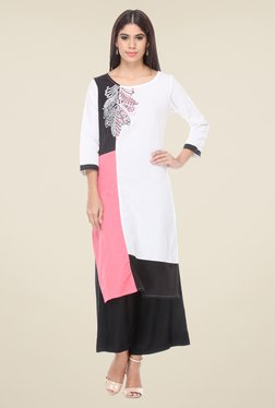 Varanga White & Black Embroidered Kurta With Palazzo - Mp000000000808565