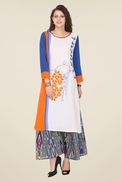 Varanga White & Blue Printed Kurta With Palazzo - Mp000000000808620