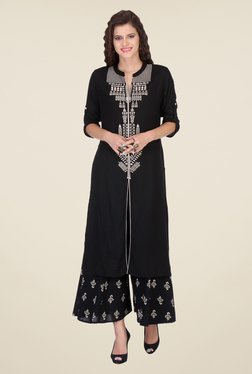 Varanga Black Embroidered Kurta With Palazzo - Mp000000000808781