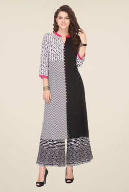 Varanga Black Printed Kurta With Palazzo - Mp000000000808834