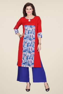 Varanga Red & Blue Printed Kurta With Palazzo