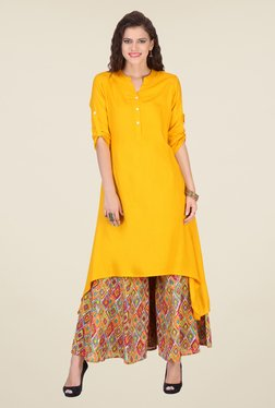 Varanga Yellow Solid Kurta With Palazzo - Mp000000000809048