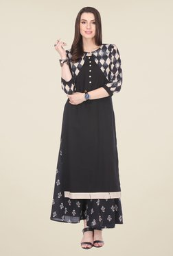 Varanga Black Printed Kurta With Palazzo - Mp000000000809123