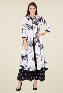 Varanga White & Black Printed Kurta With Palazzo - Mp000000000809193