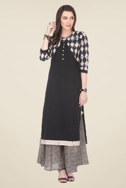 Varanga Black Printed Kurta With Palazzo - Mp000000000809177