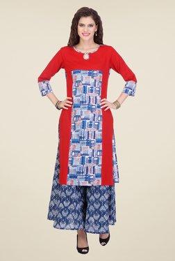 Varanga Red & Blue Printed Kurta With Palazzo - Mp000000000804648