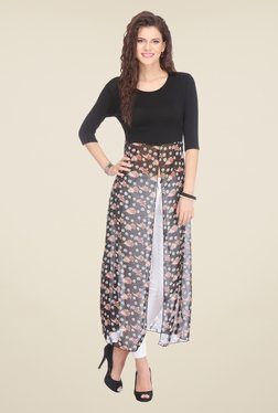 Varanga Black Floral Print Long Front Slit Top