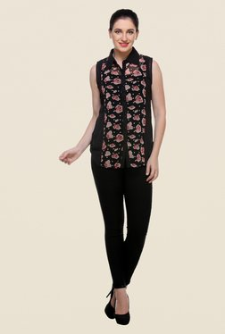Varanga Black Floral Print Top