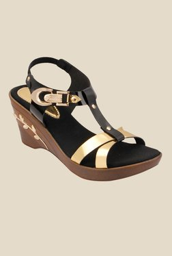 Cocoon Black Ankle Strap Wedges