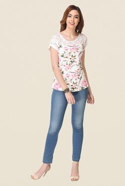 Varanga White Floral Print Top - Mp000000000809445