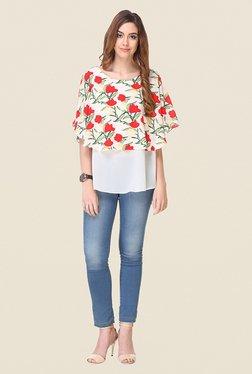 Varanga Off White Floral Print Top