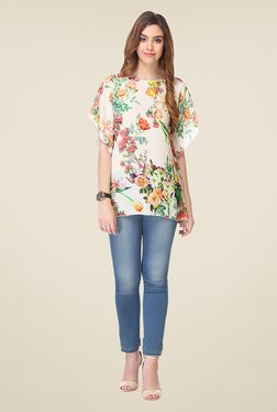 Varanga White Floral Print Top