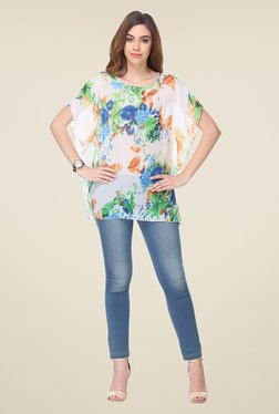 Varanga Cream Floral Print Top
