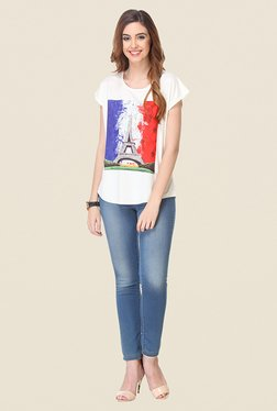 Varanga White Graphic Print Top