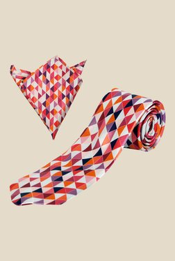 Blacksmith Pink Abstract Printed Tie with Pocket Square