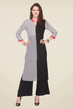 Varanga Black Printed Kurta With Palazzo - Mp000000000810856
