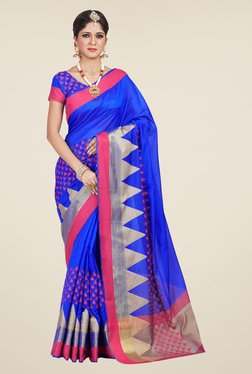Shonaya Blue Geometric Print Saree