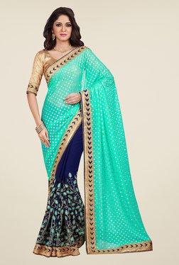 Shonaya Navy & Turquoise Embroidered Saree