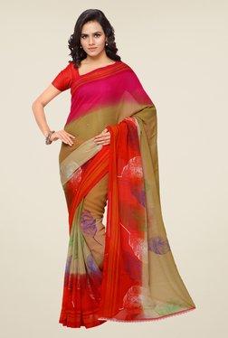 Shonaya Beige & Red Printed Saree