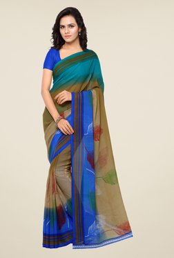 Shonaya Beige & Blue Printed Saree
