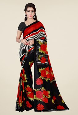Shonaya Black & Red Floral Print Saree