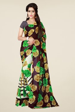 Shonaya Cream & Brown Floral Print Saree