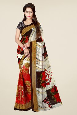 Shonaya Red & Cream Floral Print Saree