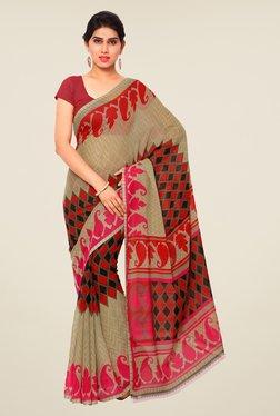 Shonaya Beige & Red Printed Saree - Mp000000000809590